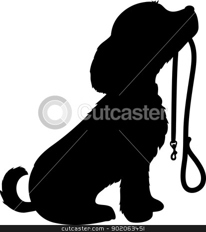 Dog And Leash Stock Vector Clipart A Black Silhouette Of A Sitting