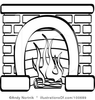 Fireplace and logs clipart clipart suggest - Black and white fireplace ...
