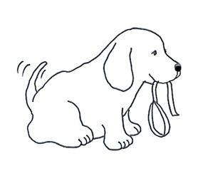 Funny Cute Dog With Dog Leash Sketch