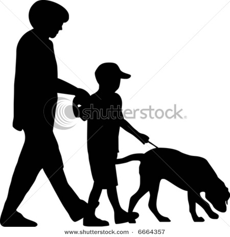 Illustration Of A Family Walking Thier Dog On A Leash   Vector Clip