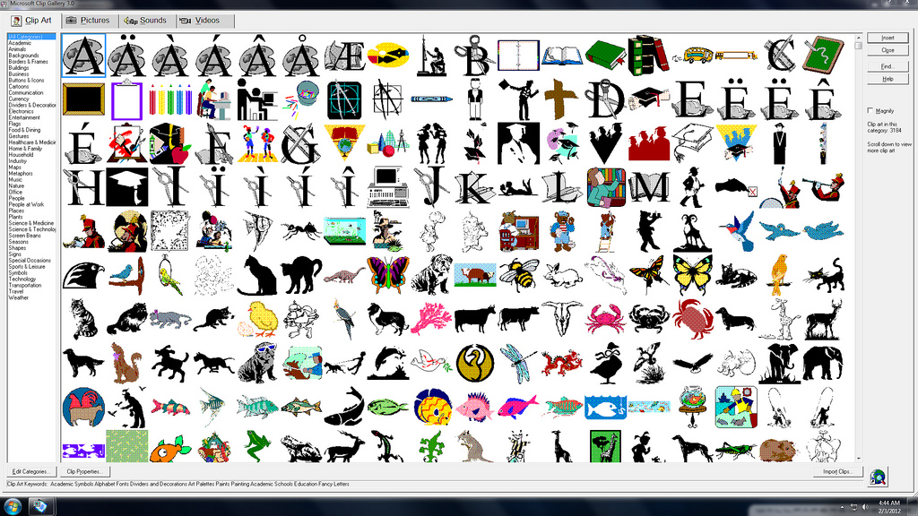 Microsoft Clip Art Gallery 3 0 With Microsoft Powerpoint 97 Running In
