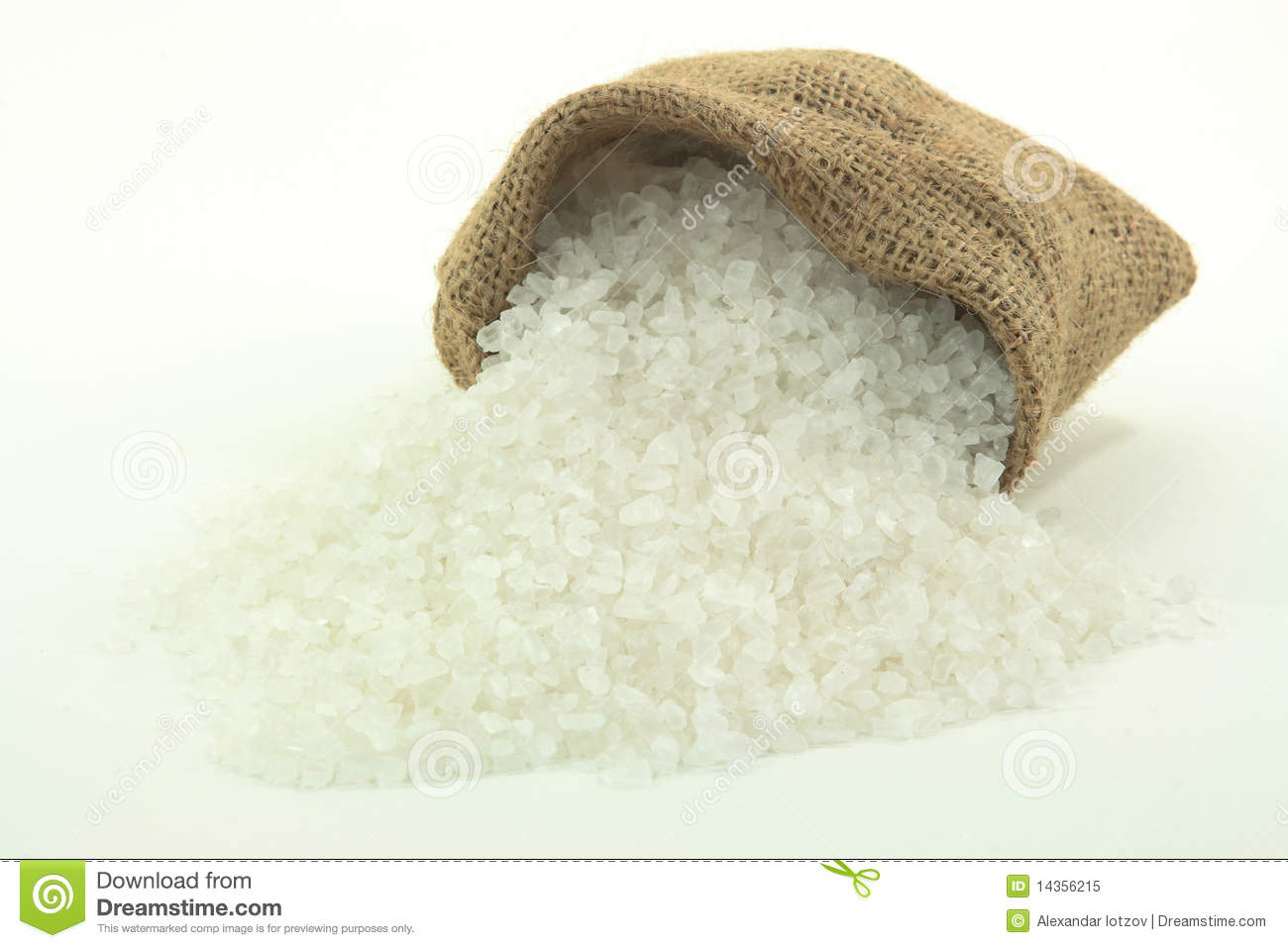 Picture Of Spilled Rock Crushed Salt From Burlap Sack Over White