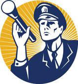 Policeman Security Guard With Flashlight Retro   Royalty Free Clip Art