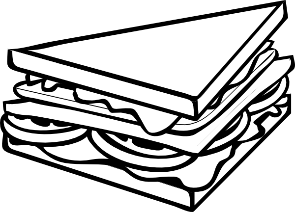 Black And White Sandwich Clipart Clipart Suggest