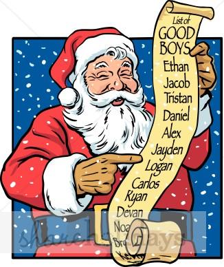 Santa Clipart Good Girl List Clipart Santas List Clipart Jolly Santa # ...