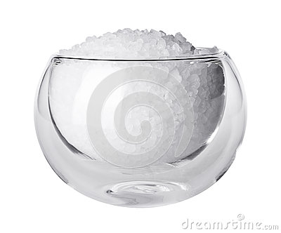 Stock Photo  Glass Bowl With Rock Salt Isolated On White