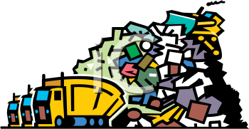 0901 0904 4518 Trucks Dumping Garbage At A Landfill Clipart Image Png