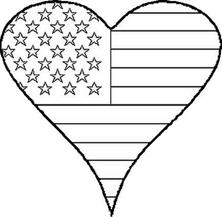 American Flag In Patriotic Heart Coloring Page   Coloring