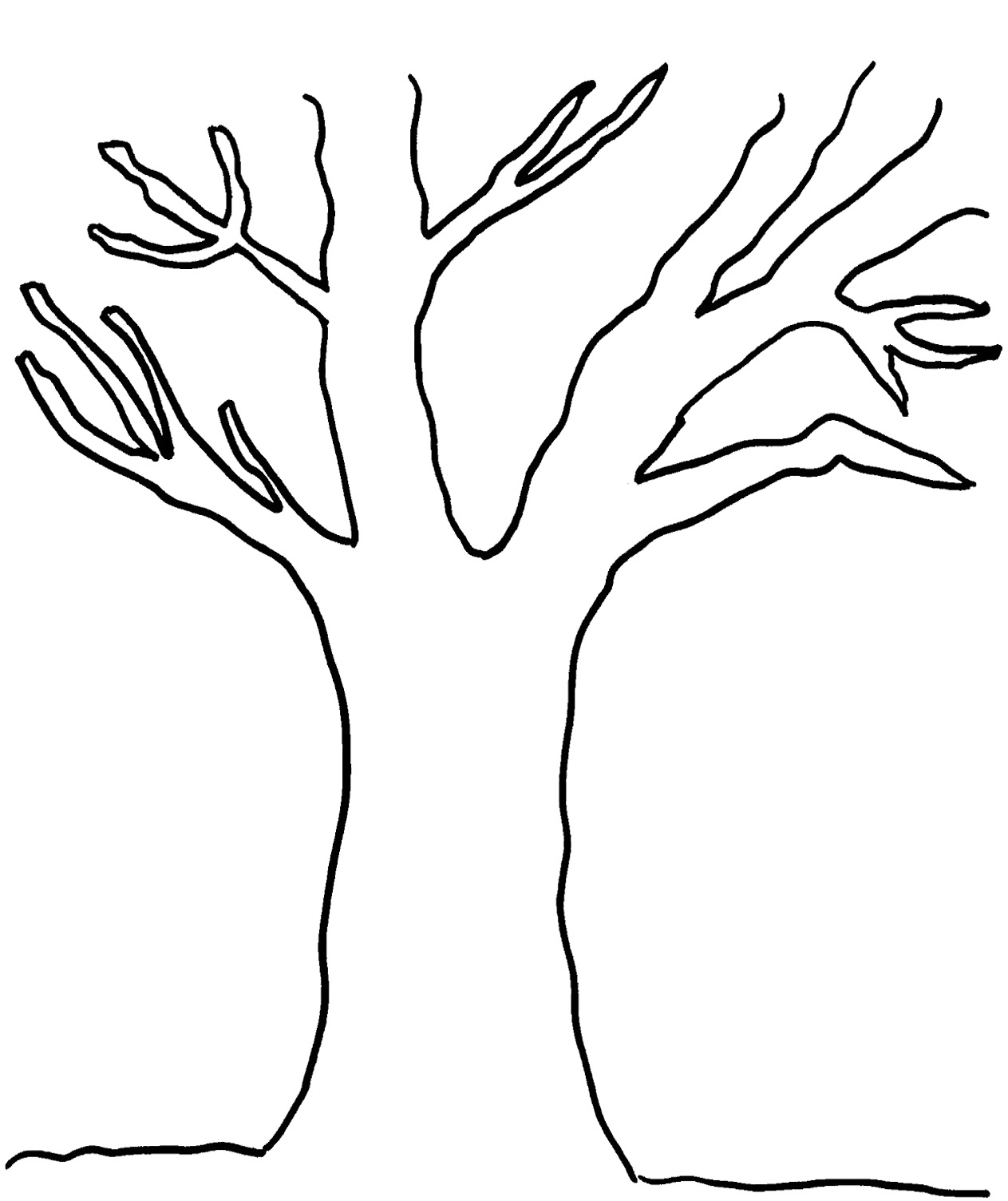 Tree Outline With Leaves Clipart Clipart Suggest
