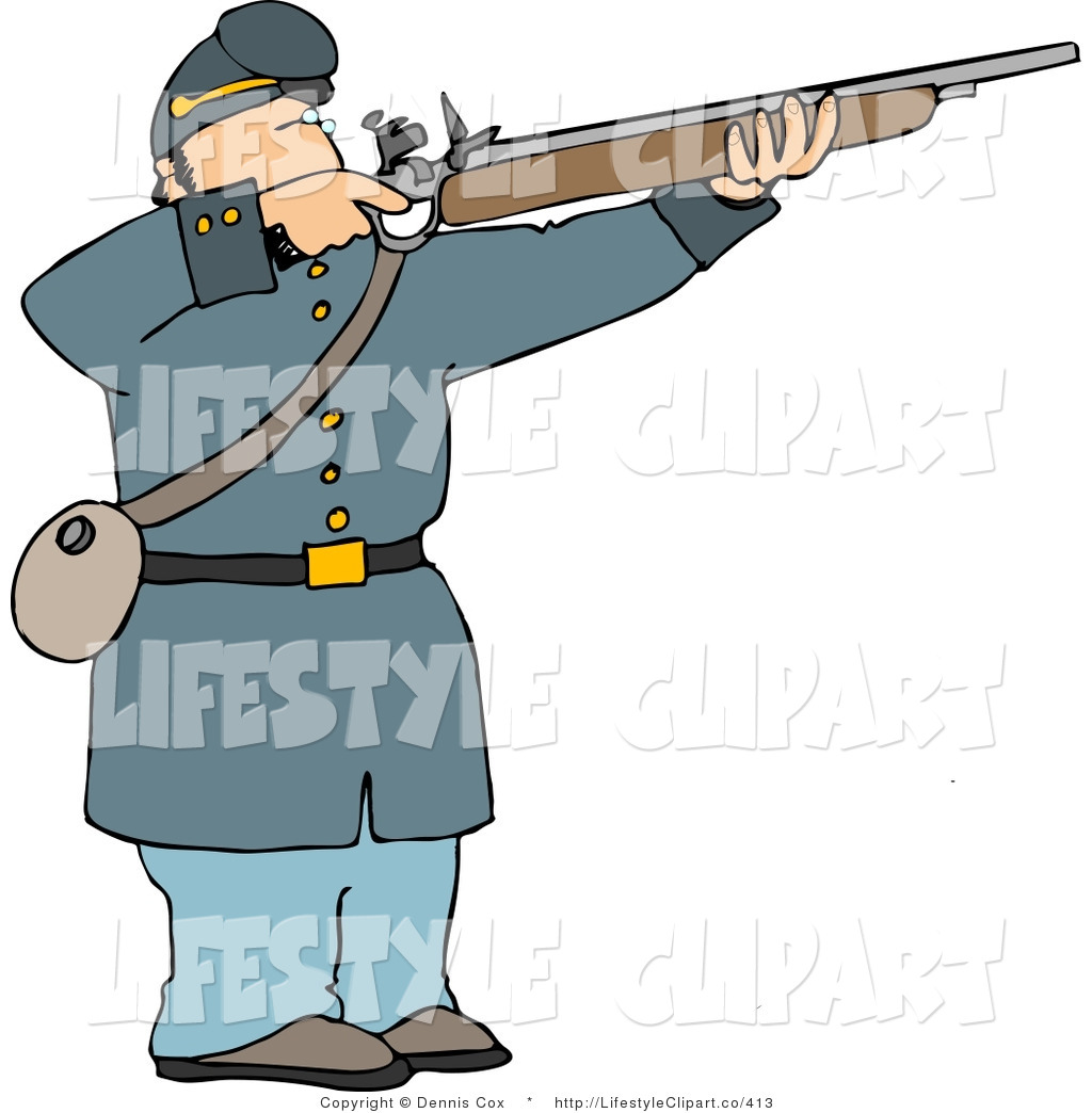 Clip Art Of A Male Military Union Soldier Aiming An Old Fashioned