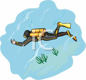 Clipart Image Of A Scuba Diver Swimming Underwater
