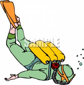 Clipart Image Of A Scuba Diver With Three Small Tanks