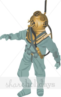 Deep Sea Diver Animated Clipart