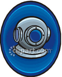 Deep Sea Scuba Diving Helmet   Royalty Free Clipart Picture