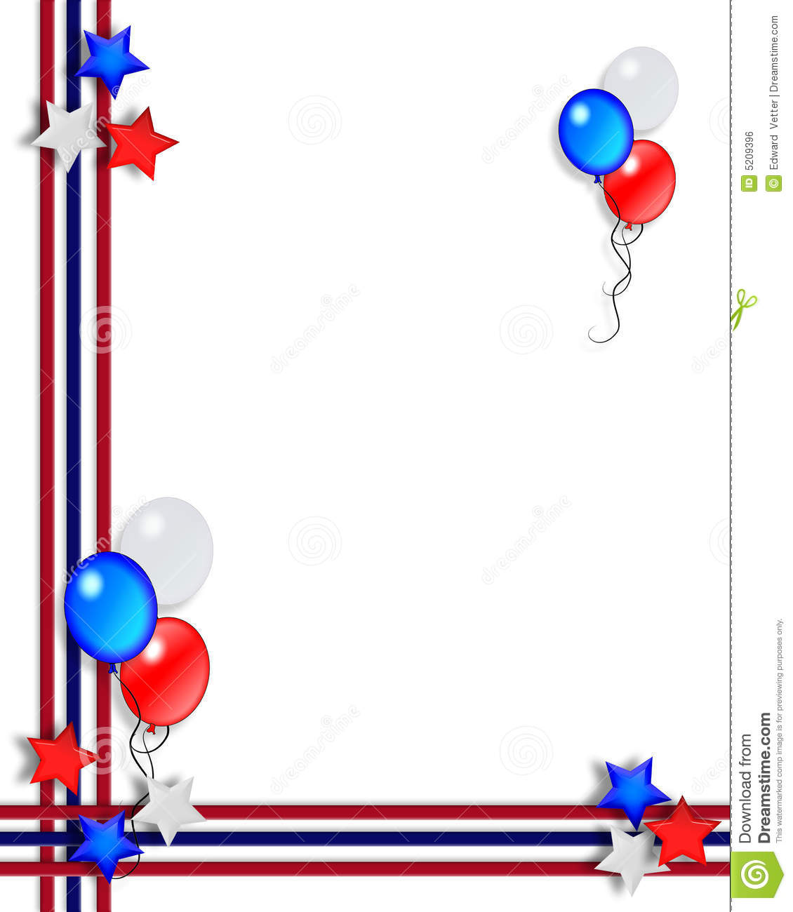Dimensional Illustration Of Balloons Stars And Stripes For Patriotic