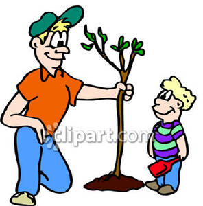 Father And Son Planting A Tree Royalty Free Clipart Picture