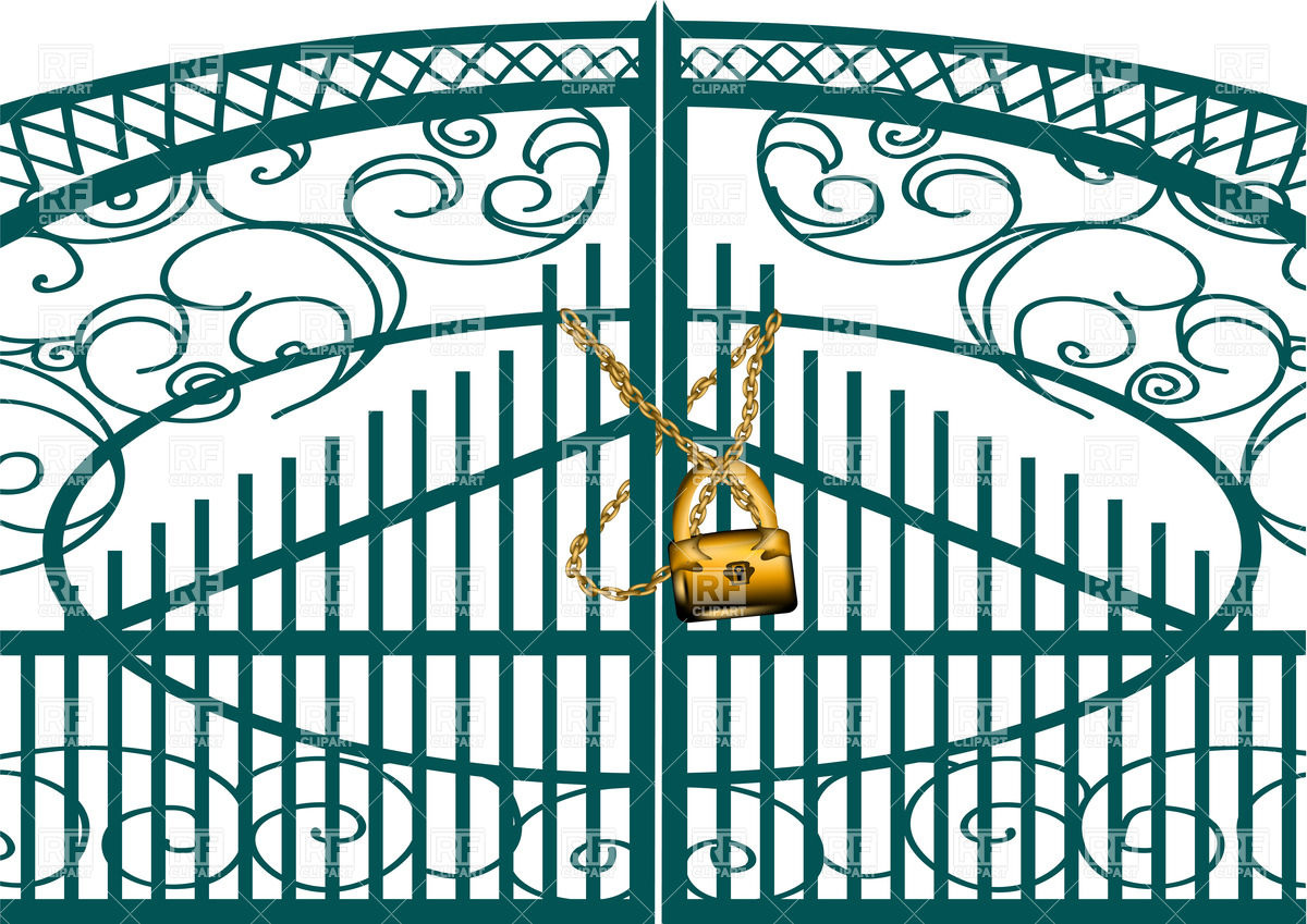 Gate With Golden Chain And Padlock 34334 Objects Download Royalty