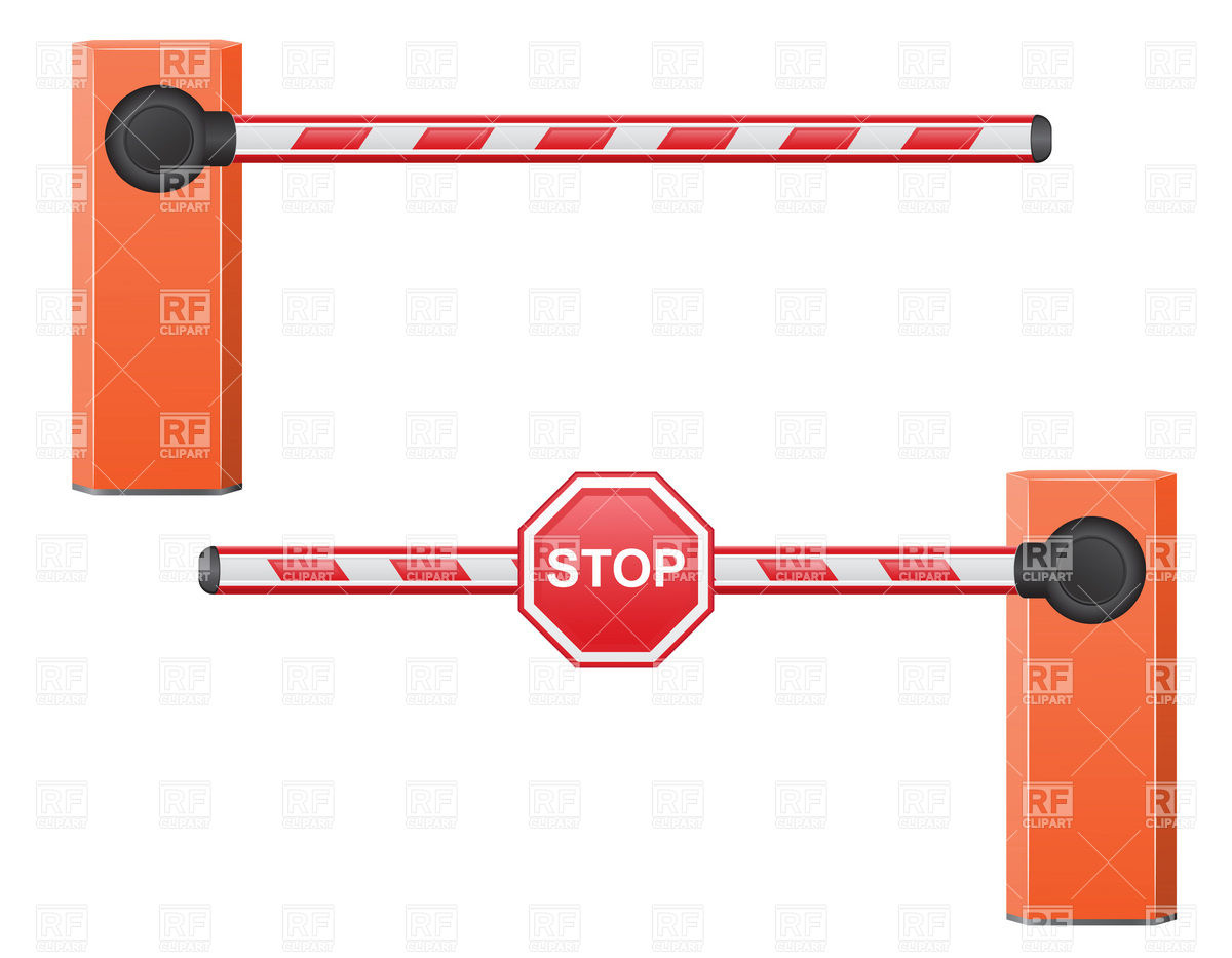 Gate With Stop Traffic Sign Download Royalty Free Vector Clipart  Eps