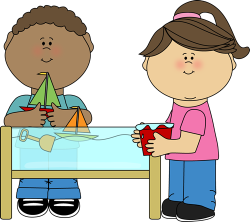 Kids Playing At A Water Table Clip Art   Kids Playing At A Water