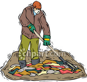 Man Raking Up Trash At A Dump   Royalty Free Clipart Picture