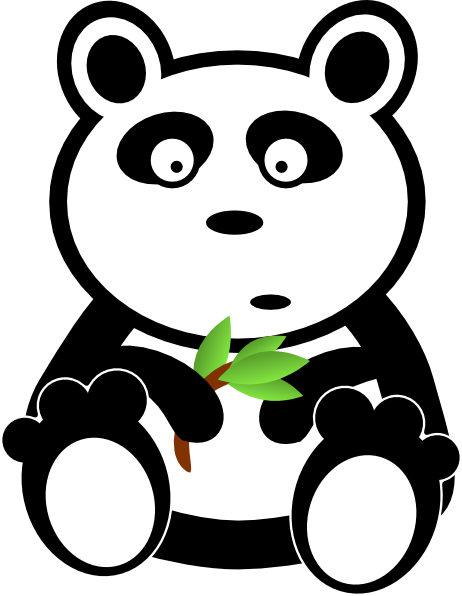 Panda With Bamboo Leaves Clip Art At Clker Com   Vector Clip Art