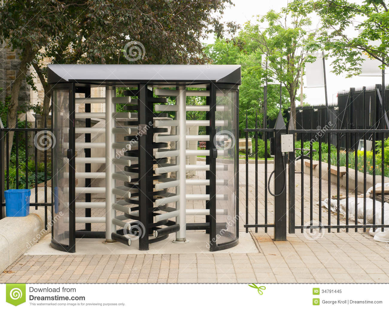 Security Gate With Revolving Gated Doors