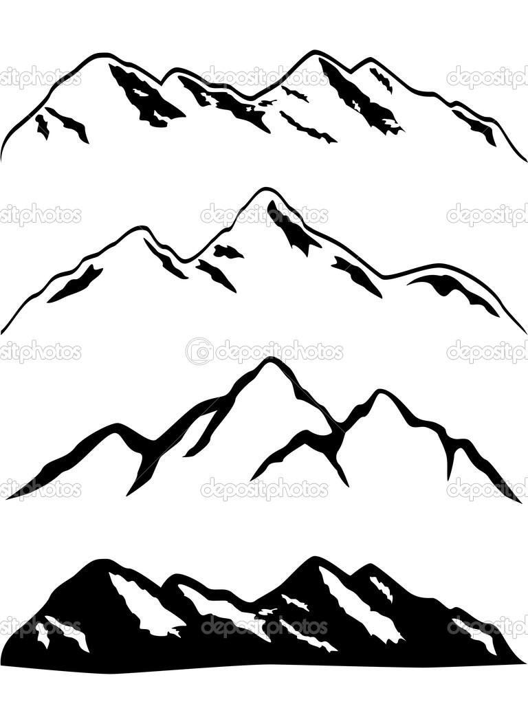 Snowy Mountain Peaks   Stock Vector   Soleilc  5984899