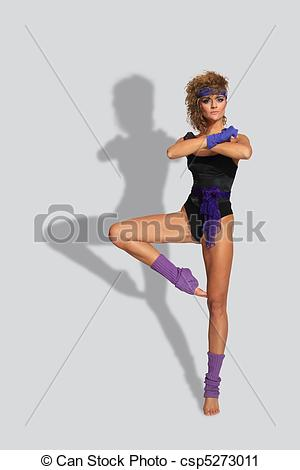 Stock Photography Of 80s Fashion Woman Over Gray Background Csp5273011