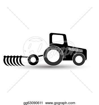Tractor With A Plow On A White Background   Stock Clipart Gg63090611