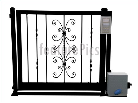Wrought Iron Gate With Security Device Isolated Clipping Path Clipart