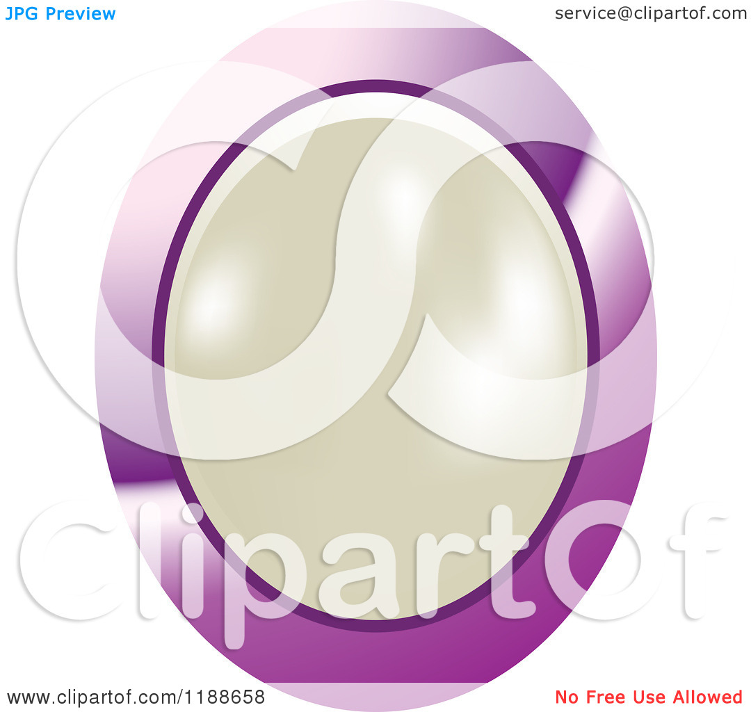 Clipart Of An Oval White Pearl In A Purple Setting   Royalty Free