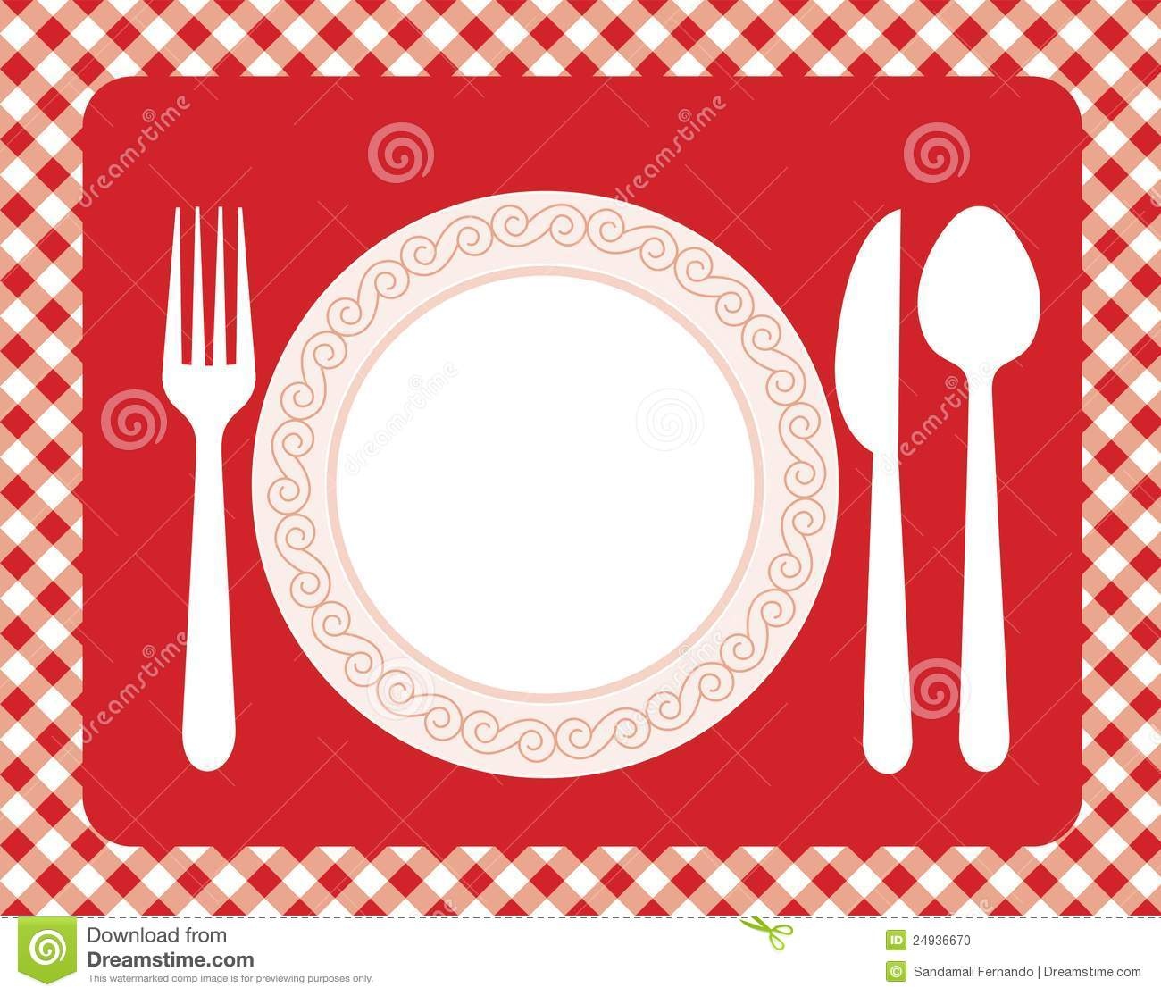 Dinner Invitation Card Background With Spoon Knife And Fork