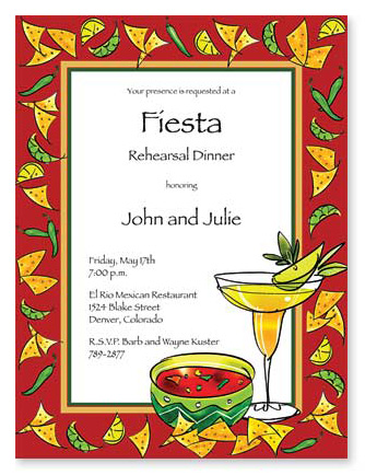 Fiesta Themed Rehearsal Dinner Party   Invitations   Party Invitations