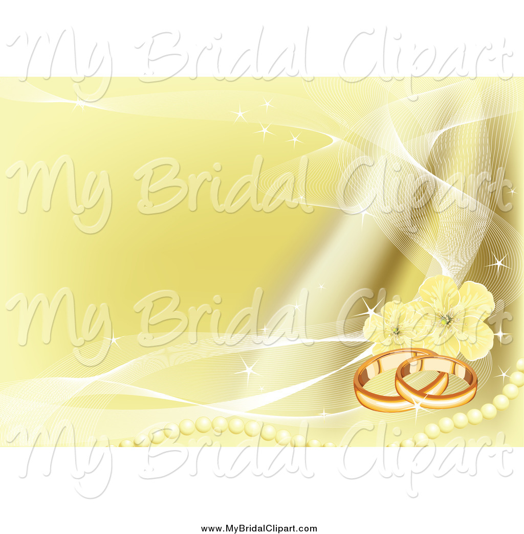 Larger Preview  Bridal Clipart Of A Golden Wedding Bands Pearl And