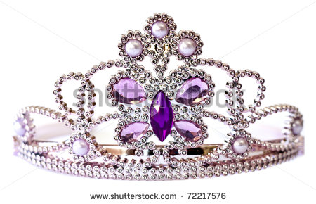 Silver Color Tiara With Purple And Lilac Stones And Pearls Isolated On