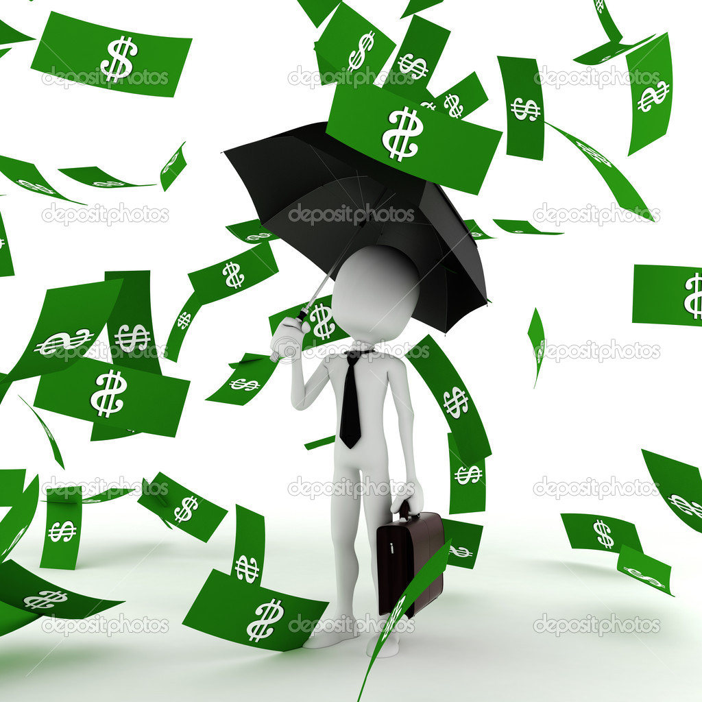 3d Man Business Man In The Money Rain   Stock Photo