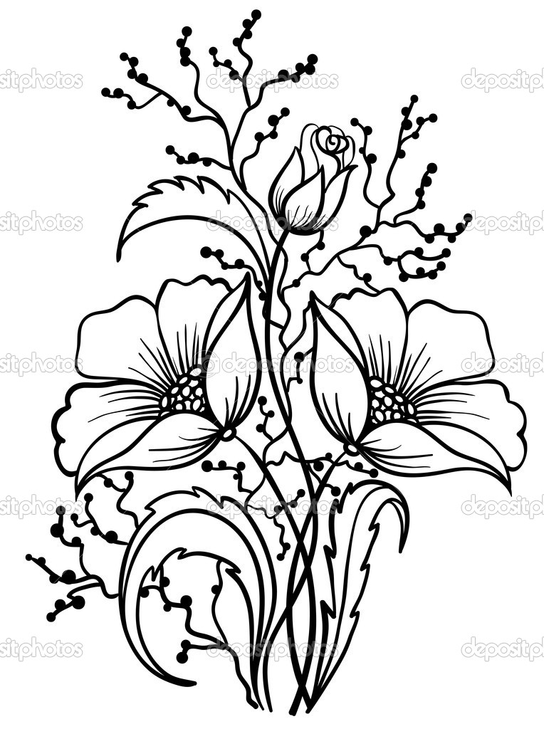 Black And White Flower Drawing   Clipart Panda   Free Clipart Images