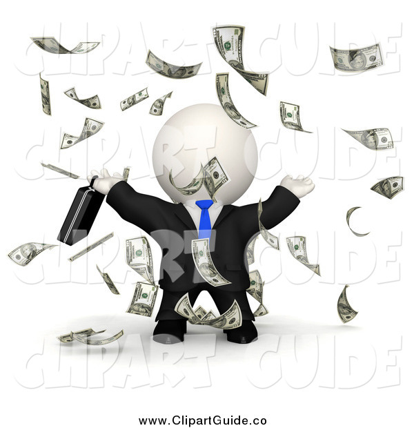 Clip Art Of A 3d Rich White Businessman Raining Money By Andresr