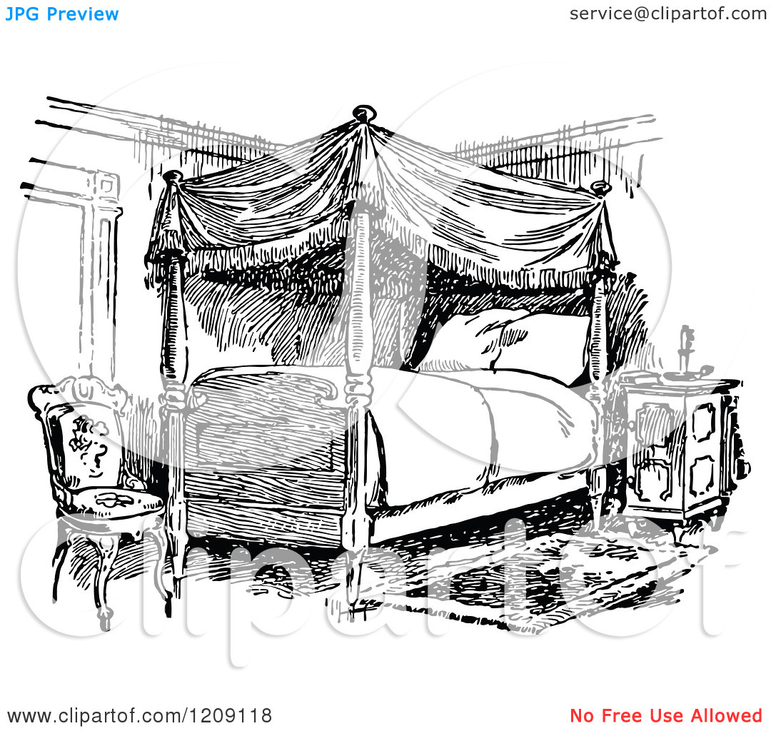 Clip Art Black And White Bedroom Clipart
