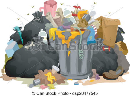 Eps Vector Of Messy Garbage Bags   Illustration Of A Pile Of Decaying