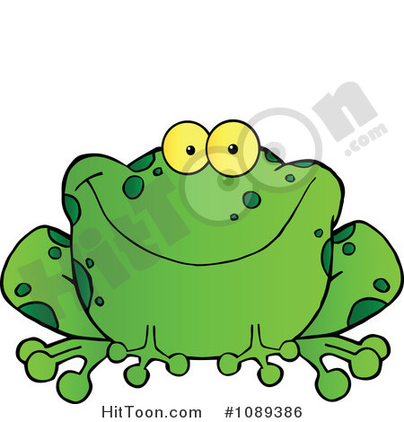 Frog Clipart  1089386  Speckled Green Frog Smiling By Hit Toon