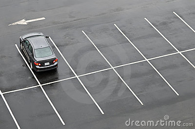 Single Car In Empty Parking Lot Stock Photography   Image  5490632