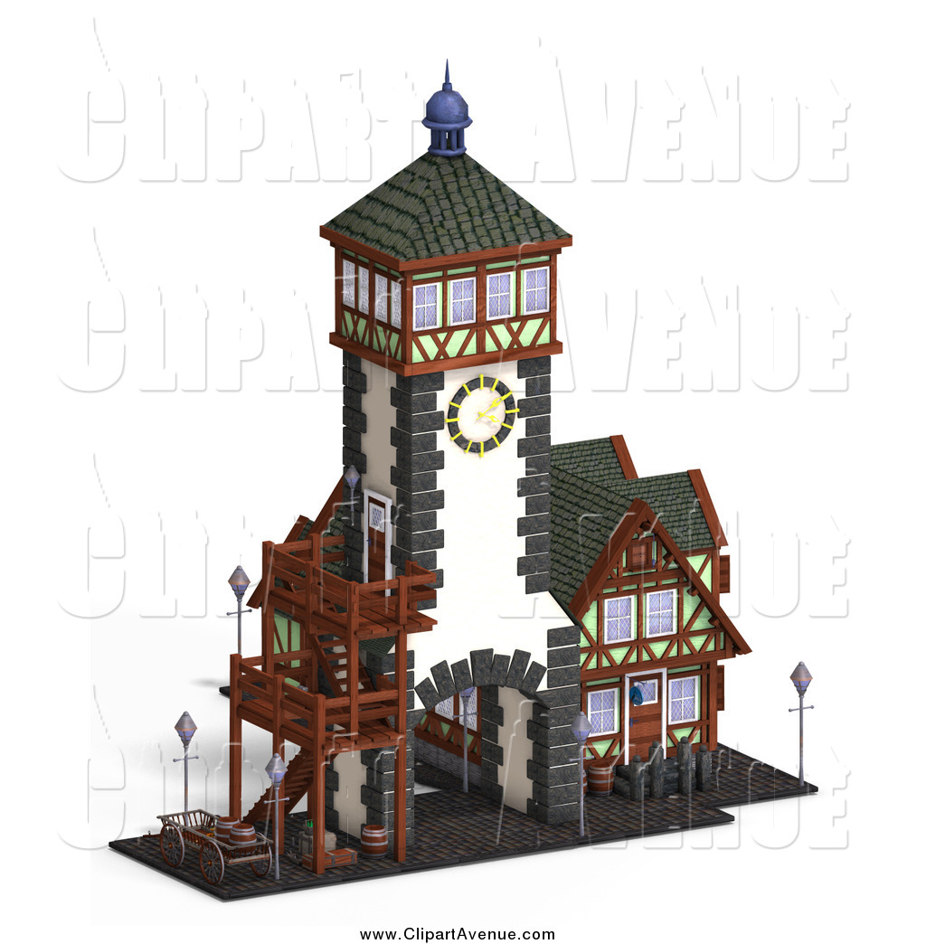 Avenue Clipart Of A 3d Medieval Clock Tower And Building