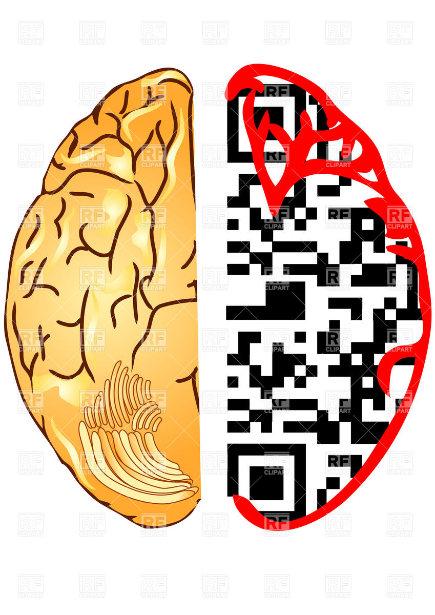 Brain As Qr Code Download Royalty Free Vector Clipart  Eps