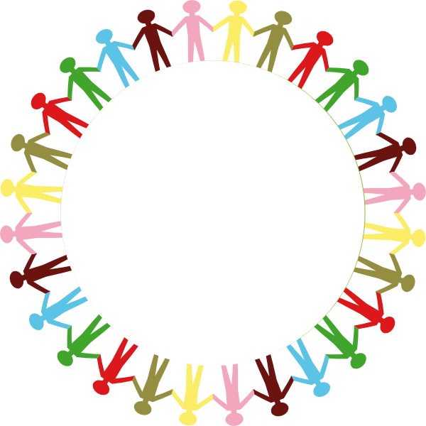Circle Holding Hands Stick People Multi Coloured Clip Art At Clker Com
