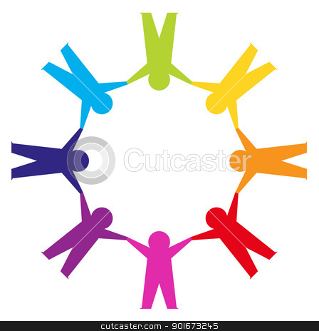 Circle Holding Hands Stock Vector Clipart Group Of People In A Circle