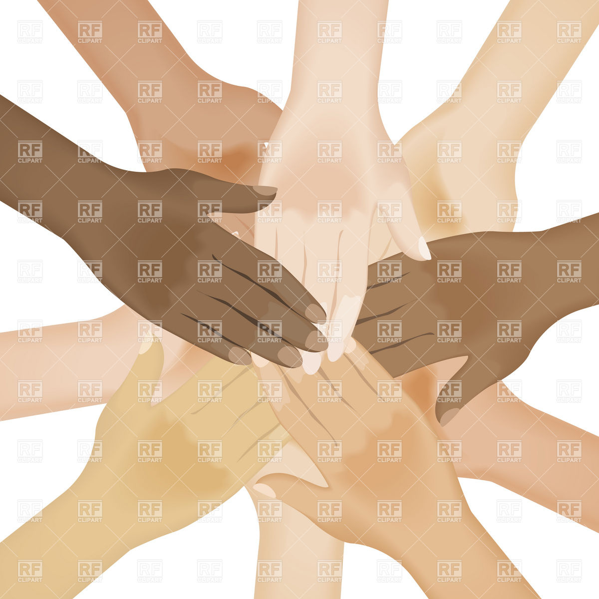 Circle Of Multiracial Human Hands 7534 People Download Royalty Free