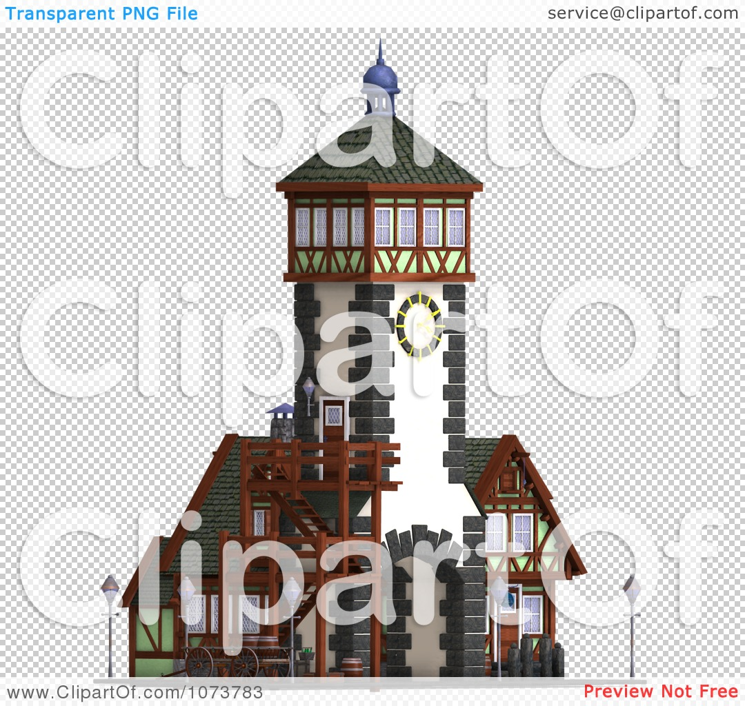 Clipart 3d Medieval Clock Tower Building 2   Royalty Free Cgi