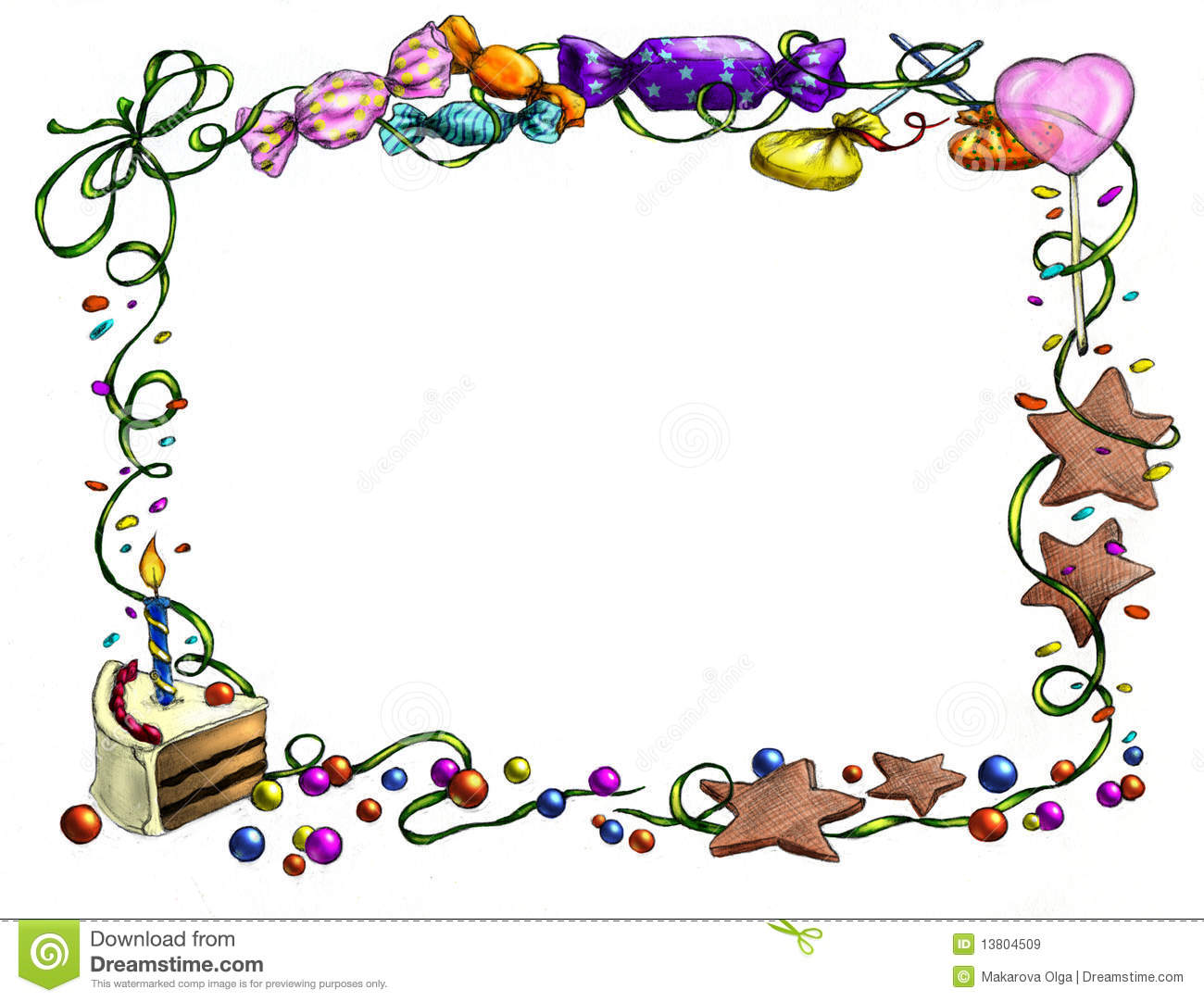 frame of sweets berries ribbons and a piece of birthday cake pencil
