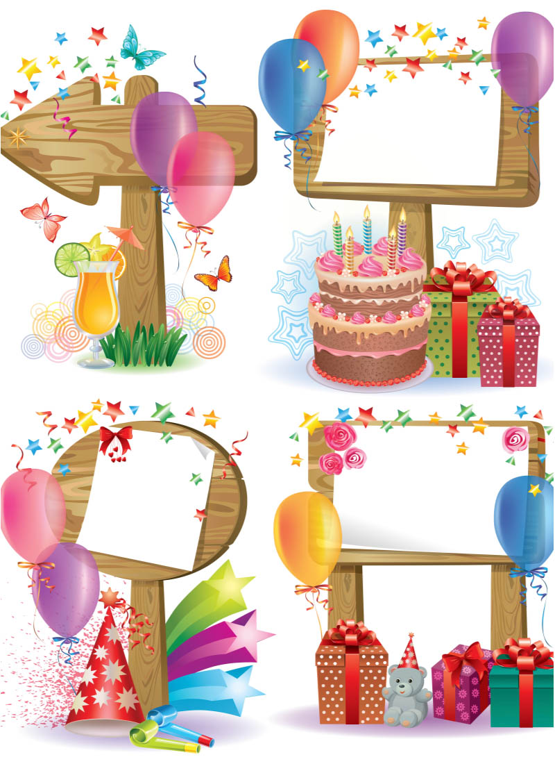happy birthday decorated frame vector vector free